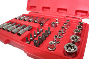 34pc Torx Star Sockets Bit Set Male Female E Torx Security Bits 3 8 Drive