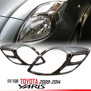 Fit For Toyota Yaris 2009 2014 Chrome Front Head Light Lamp Cover Trim 1 Pair