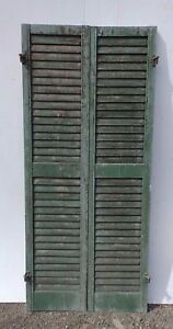 Pair Antique Window Wood Louvered Shutter Shabby Old Chic Vtg 66x15 376 17r