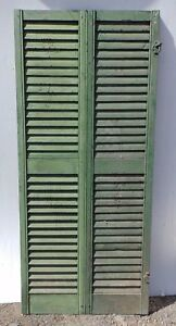 Pair Antique Hinged Window Wood Louvered Shutter Shabby Vtg Chic 66x15 379 17r