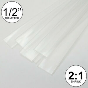 1 2 Id Clear Heat Shrink Tube 2 1 Ratio 0 5 Wrap 6x9 4ft Inch feet to 13mm