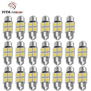 Yitamotor 20pcs White 31mm 5050 4smd Festoon Led Dome Interior Light Bulb De3175