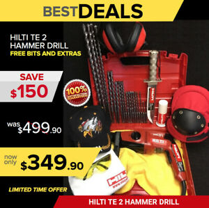 Hilti Te 2 Hammer Drill Preowned Free Survival Knife Bits Extras Quick Ship