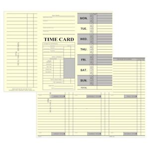 250 Count Tri fold Job Time Cards For Right side Printing Time Clocks