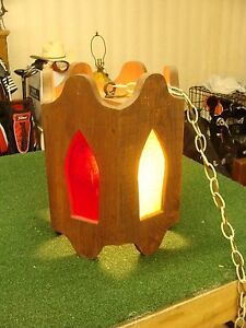 Vtg Wood Stained Glass Ceiling Light Swag Lamp Funky Mid Century Modern