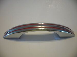 Vintage 1950 S Chrome Drawer Cabinet Door Pull Red Lines Handle National Lock