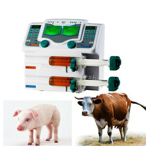 Veterinary 2 channel Syringe Injection Pump Animal Injector Jet Pump Alarm