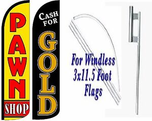 Pawn Shop Cash For Gold Windless Swooper Flag With Complete Kit Pack Of 2