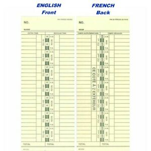 Time Cards For The Royal Tc100 Form 013702 1000 Ct English french