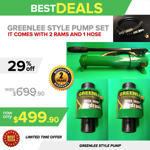 Greenlee Style Hydraulic Pump With 2 Ram 1 Hose New Free Hose Fast Ship