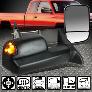 For 09 16 Dodge Ram Power Heated Led Smoked Light Rear View Towing Mirror Pair