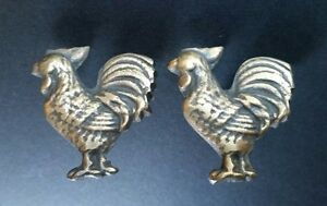 2 Rooster Chicken Cabinet Drawer Door Knobs Pulls Solid Brass Country K13