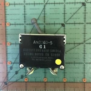 Littelfuse Aircraft Circuit Breaker An3160 5 Vintage 5a 5 Amps Toggle Switch