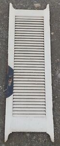 Antique Wood Louvered Shutter Door Old Vtg Closet Shabby Cottage Chic 235 17e