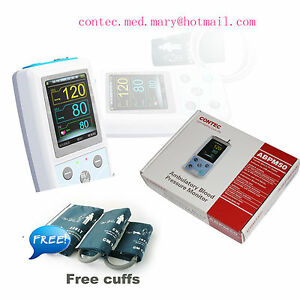 24h Ambulatory Digital Blood Pressure Monitor holter Nibp 3 Cuff Contec Abpm50