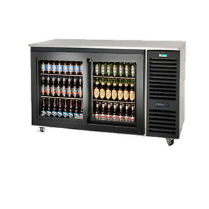 Krowne Metal Sd60r 2 Section Sliding Door Refrigerated Back Bar Storage Cabinet