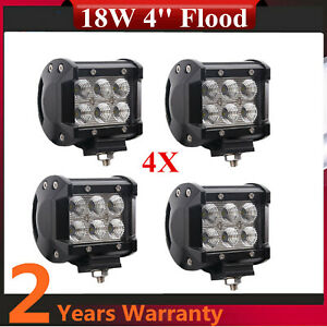4pcs 18w Led Driving Fog Flood Beam Light Roof Off Road 4x4 Atv Utv Suv Truck