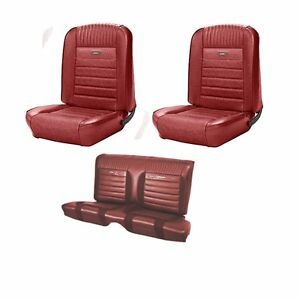 1964 1965 Mustang Fastback Pony Seat Upholstery In Red Front Rear By Tmi