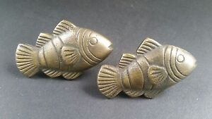 2 Tropical Fish Brass Knobs Pulls Handles Ocean Beach Seaside Hardware 2 K11
