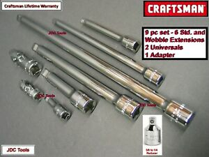 New Craftsman 9 Pc 1 4 3 8 Extension Bar Universal Joint Set Tool Socket 8