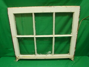 Vintage Farmhouse Old Wood Window Sash 6 Pane Picture Frame 25 75 X 28 5 Inches