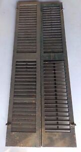 Pair Antique Window Wood Louvered Shutter Shabby Old Chic Vtg 69x13 469 17r