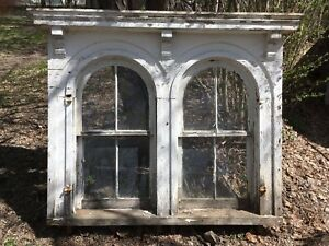 Complete 1850 Antique Double Arched Victorian Window Shabby Vtg Chic 262 17e