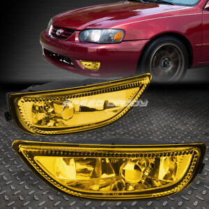 For 01 02 Toyota Corolla Amber Lens Bumper Driving Fog Light Replacement Lamps