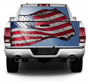 Back Lit American Flag Wrap Rear Window Tailgate Graphics Decal Kit
