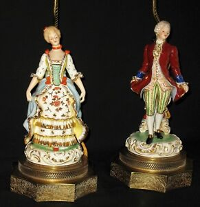Antique Hp Porcelain Court Figural Table Vanity Lamps W O Shades Electric Brass