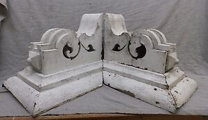 Large Antique Pair Wood Corbels Shabby Cottage Chic Vintage 474 17r