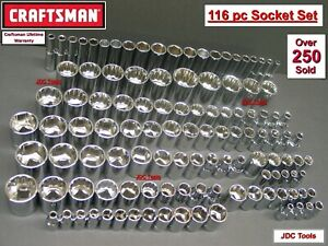 Craftsman 116pc 1 4 3 8 1 2 Dr Sae Metric Mm 6pt 12pt Ratchet Wrench Socket Set