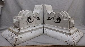 Large Antique Pair Wood Corbels Shabby Cottage Chic Vintage 475 17r