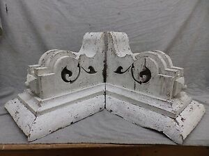 Large Antique Pair Wood Corbels Shabby Cottage Chic Vintage 476 17r