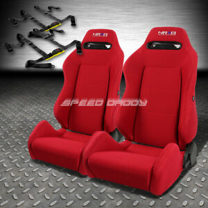 Nrg Type r Red Reclinable Racing Seats universal Slider 2x 4 point Harness Belt