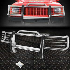 For 84 01 Jeep Cherokee Xj Suv Chrome Stainless Steel Front Grill Guard Flame