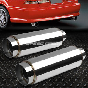 2x 3 inlet 4 5 chrome Slant Tip silencer T304 Steel Racing Round Exhaust Muffler