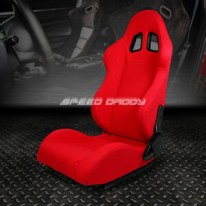 Fully Reclinable Upholstery Sports Racing Seat Mount Slider Red Driver Left Side