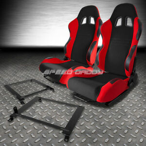 Black Red Fully Reclinable Racing Seats Low Mount Bracket For 01 05 Honda Civic
