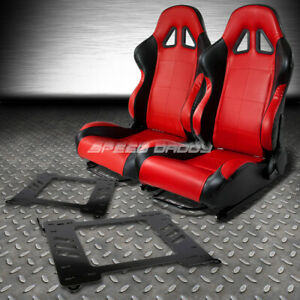 2 X Red black Pvc Leather Racing Seats bracket For 99 05 Bmw E46 3 series m3