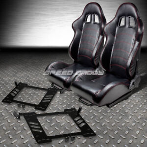 2 Pvc Leather Red Stitches Racing Seats Bracket For 99 05 Vw Golf Jetta Beetle