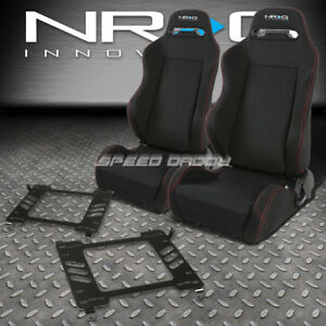 Nrg 2 Type R Red Stitches Racing Seats Bracket For 05 14 Ford Mustang Gt S 197