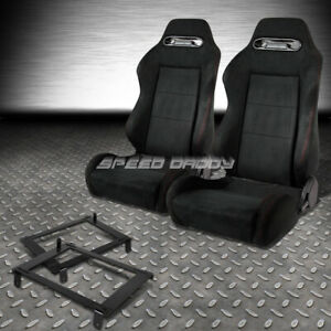 2x Suede Type R Reclinable Racing Seat Low Mount Bracket For 02 06 Dc5 Acura Rsx