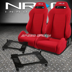 Nrg Type R Red Reclinable Racing Seats Bracket For 90 93 Acura Integra Da9 Db1
