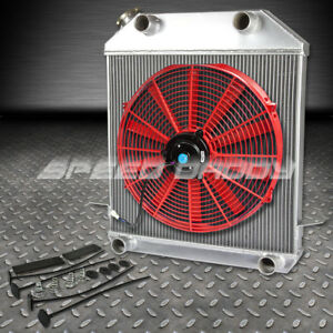 39 41 Ford Flathead Flatty V8 Three Core Aluminum Radiator 16 Red Cooling Fan