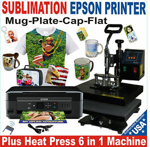 6 In 1 Heat Press Transfer Sublimation T shirt Hat Mug 15x15 Printer Epson