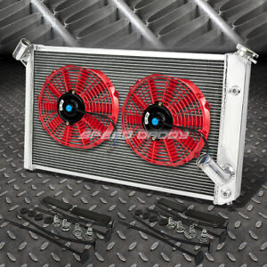 3 Row Aluminum Radiator 2x 12 Fan Kit Red For 73 76 Chevy Corvette V8 5