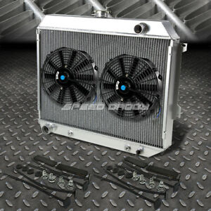 3 Row Aluminum Radiator 2x 12 Fan Black For 68 73 Satellite Gtx Roadrunner V8
