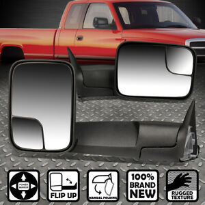 For 94 97 Dodge Ram Truck 1500 2500 3500 Pair Foldable Powered Tow Towing Mirror