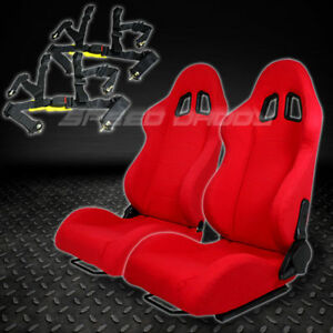 2 X Universal Type f1 Red Woven Upholstery Racing Seats 4 pt Harness Black Belts